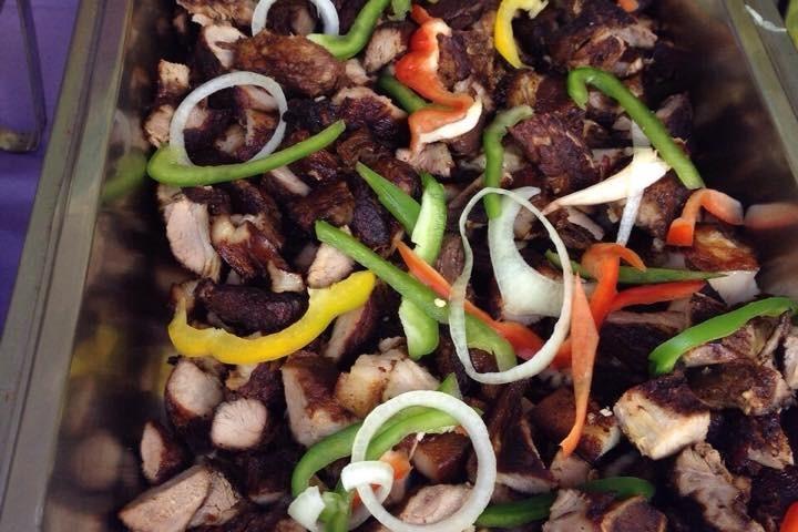 jerk pork catering platter at trellis bay market bvi