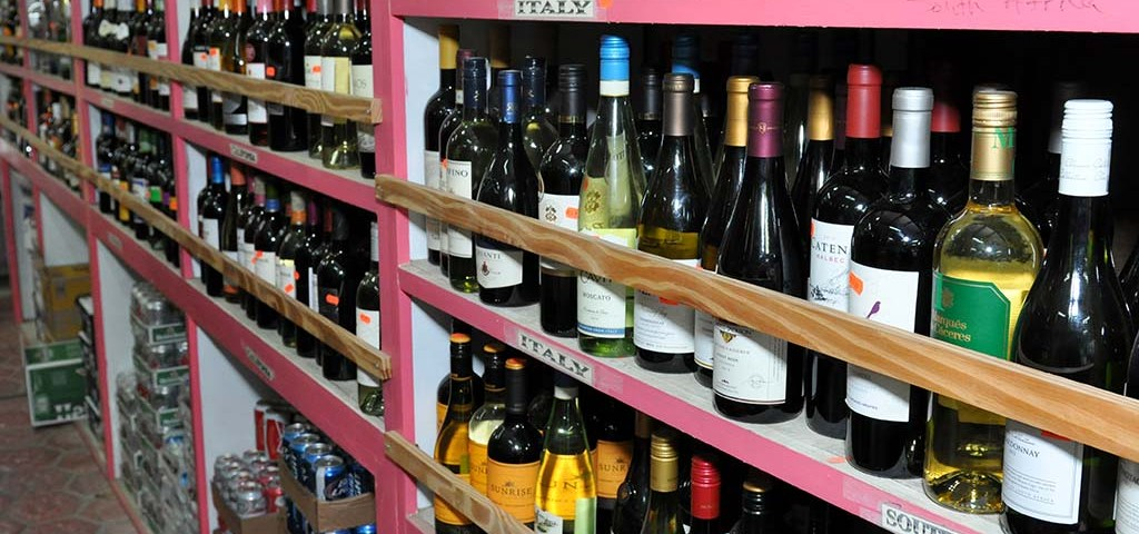 wine selection available at trellis bay market provisioning service
