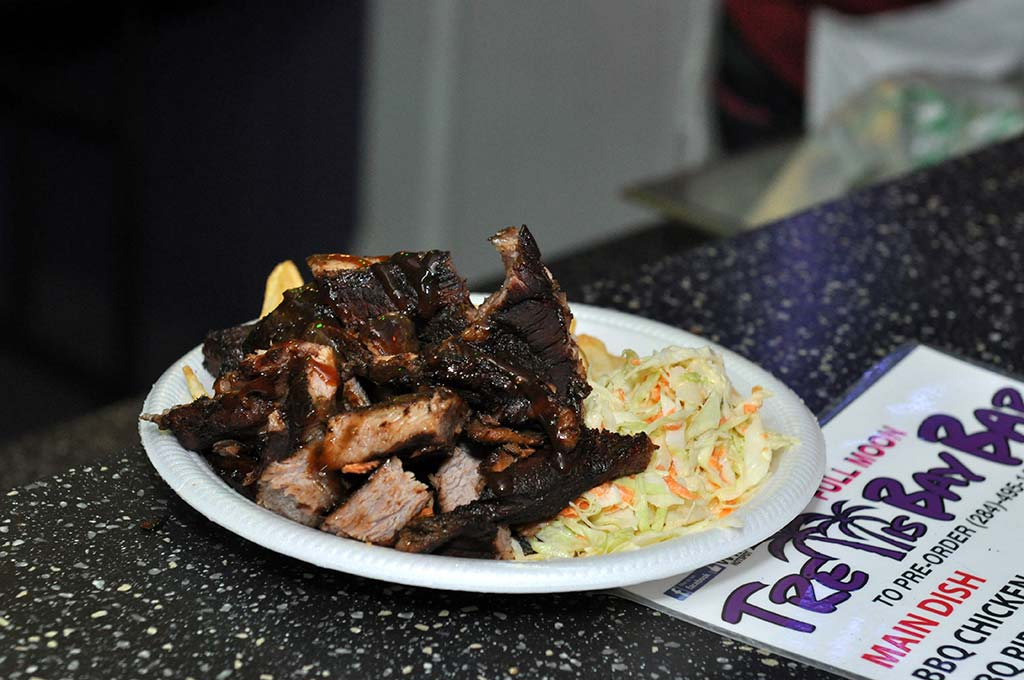 delicious jerk pork and coleslaw available every weekend at trellis bay market