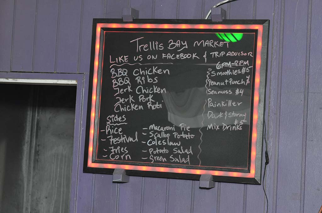 trellis bay market lighted menu