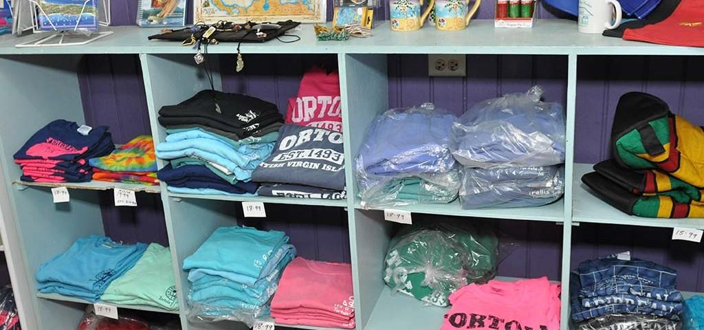 selection of shirts at trellis gift shop british virgin islands