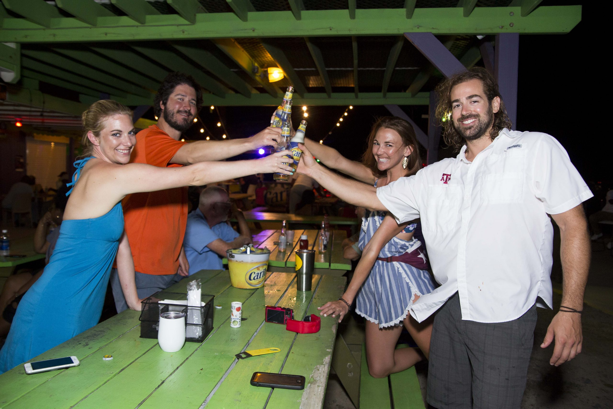 carib specials at cheers at vybez & chill at trellis bay market