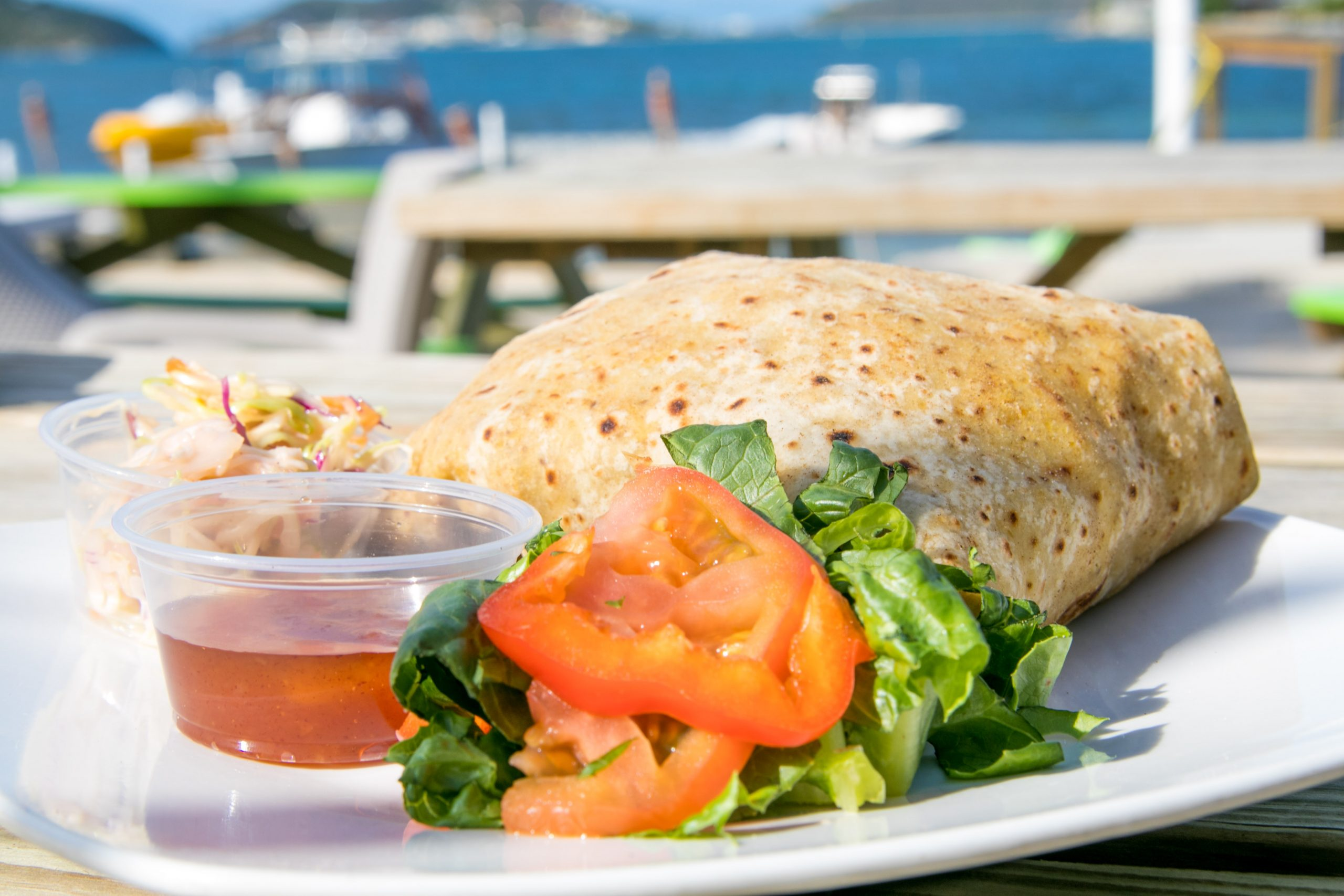 chicken roti at trellis bay market
