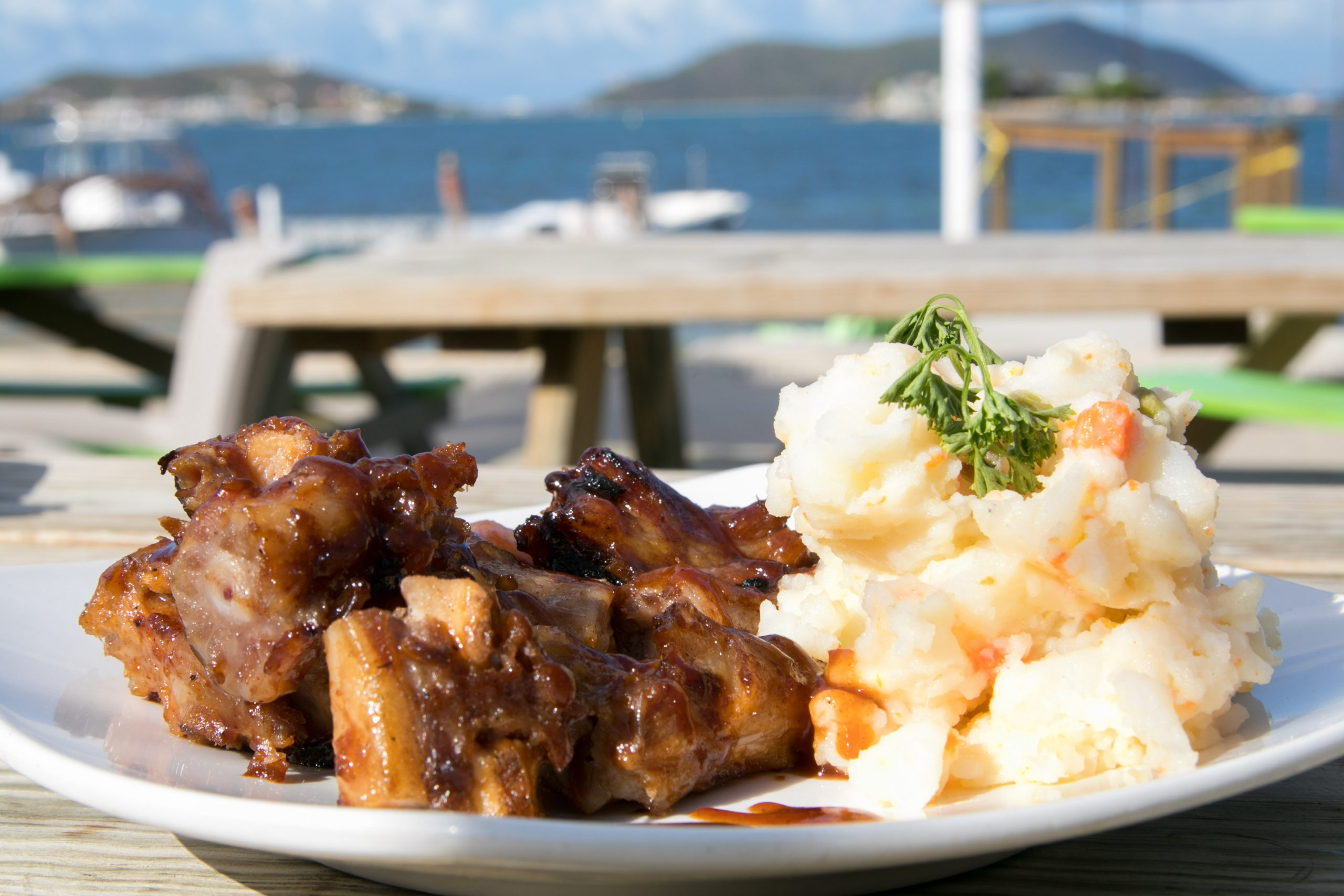 grill pigtail, potato salad at trellis bay market