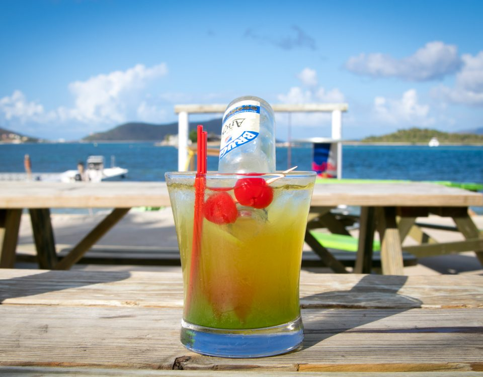 bottoms up cocktail at trellis bay market